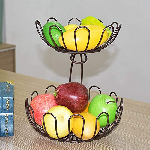 Artículos para el hogar de hierro creativo Cesta de frutas, fugas de agua Decoración de la sala de estar 2,Coffee Color