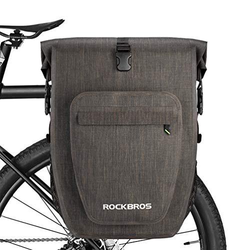 ROCKBROS Alforjas Trasera Impermeable 100% para Portaequipajes de Asiento de Bicicleta MTB Carretera Ebike de Viaje Capacidad 20-27 litros (Negro Dorado*1)