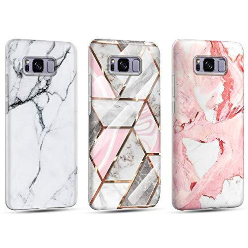 Funda para Samsung Galaxy S8 Mármol Silicone Suave Carcasa, Ultra Delgado Mate Case de IMD Marble Protección Antigolpes Anti-Rasguño y Resistente Huellas - Oro + Color Nude + Blanco