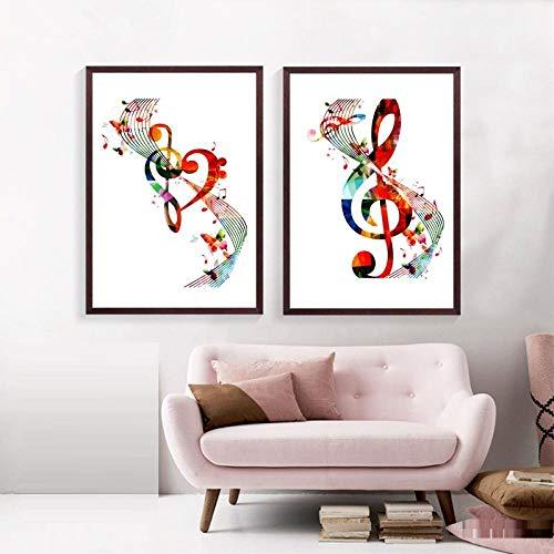 wekeke Notas Musicales Coloridas Lienzo Impresión de Arte Cuadros de Pared Notas Musicales abstractas Cartel Arte Lienzo Pintura Decoración Musical para el hogar-50X70Cmx2 Piezas Sin Marco