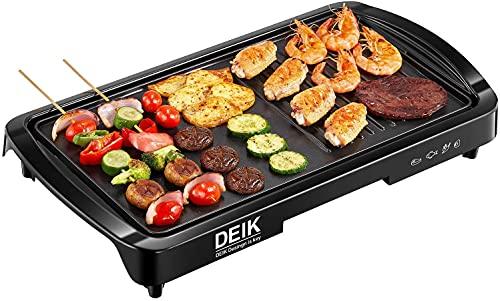 Elektrogrill, DEIK 2 in 1 Teppanyaki Tischgrill elektrisch für 6 Personen, Antihaftende Grillplatte aus Alu-Druckguss, Verstellbarer Temperaturregler 1800W, Fettarm, Ideal als Geschenk für die Party