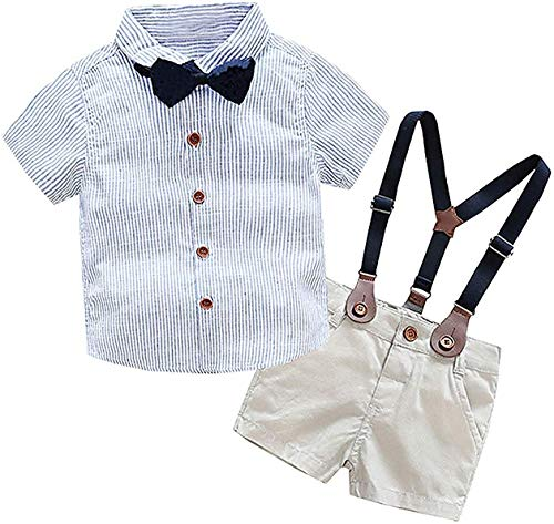 Baby Boys Dress Clothes, Toddlers Short Sleeves Button Down Vertical Stripes Dress Shirt with Bowtie + Suspender Shorts Set Summer Gentlemen Outfit, Blue, Tag 110 = 2-3 Years