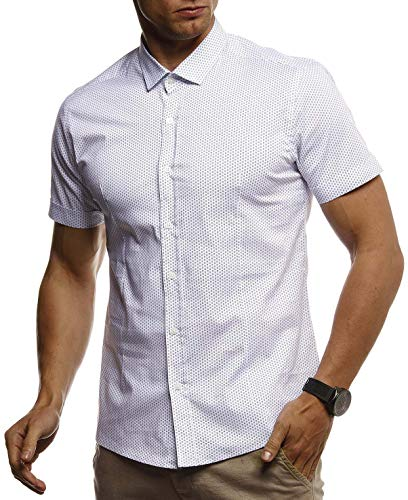 Leif Nelson Herren Hemd Kurzarm Slim Fit T-Shirt Kentkragen Stylisches Männer Freizeithemd Stretch Kurzarmhemd Jungen Basic Shirt Freizeit Sweater Kurzarmshirt Sommerhemd LN3820 Weiß Large