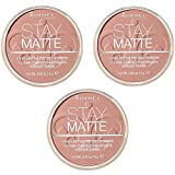 Rimmel Stay Matte Powder - Polvo compacto Amber 009, 3 x 14 g