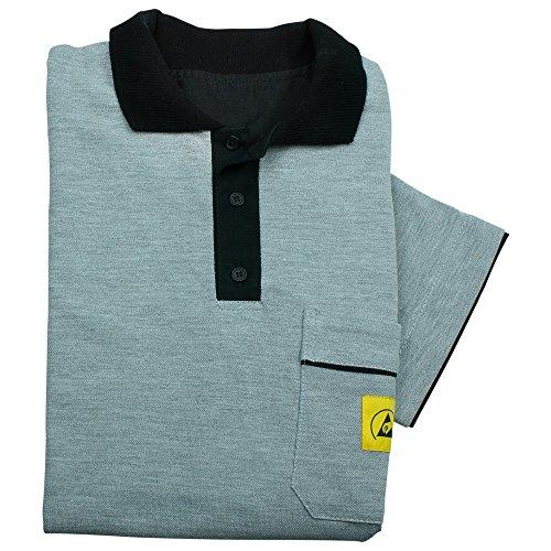 Wetec ESD-Polo-Shirt, mit schwarzem Kragen, Größe XL, grau