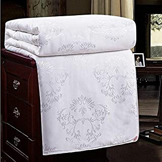 NS Luxury 100% Mulberry Silk Duvet Silk Comforter Silk Filled Comforter Silk Quilt Doona Bedspread Coverlet Blanket Queen Size Color White for Spring Autumn