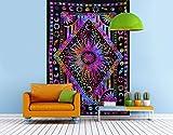 THE ART BOX Grande Taille psychédélique Hippie Couleur Peinture Indien Tapisserie Murale Tapisserie décoration de la Maison tenture Murale Couverture Coton Nappe Yoga