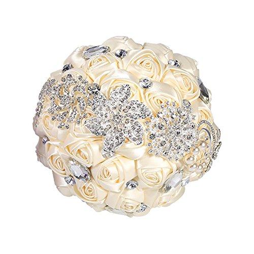 Ramo de novia de Marfil/púrpura de la boda del Rhinestone de la broche de Ramos el dar romántica celebración de las flores de perlas de cristal con cuentas sedosas rosas (Color : Ivory)