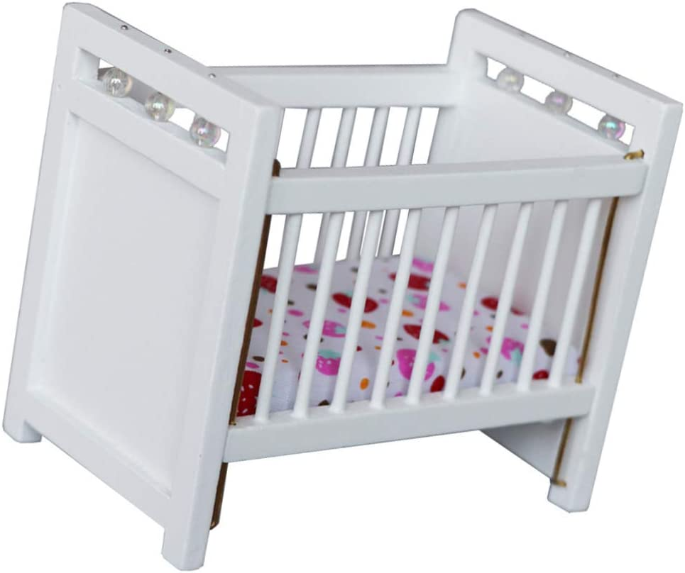 Toyvian Wooden Dollhouse Crib Doll House Baby Bed Dollhouse Furniture Accessories Decoration ( White )