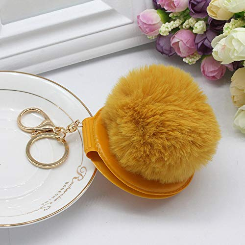 Keychain, 3 Pieces Of Fur Ball Keychain, Portable Portable Make-Up Folding Double-Sided Small Mirror Keychain, Bag Pendant