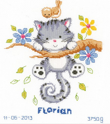 Vervaco tellpatroon spelend katje tellpatroon verpakking borduurverpakking in kruissteek, katoen, meerkleurig, 20 x 22 x 0,3 cm