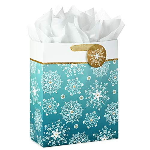 Hallmark 15' Extra Large Holiday Gift Bag with Tissue Paper (Snowflakes)