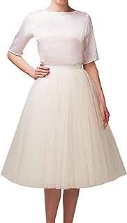 Alicebridal Falda tutú de Tul hasta la Rodilla para Mujer, Vestido de Noche para Fiesta, Baile de graduación, Faldas Formales
