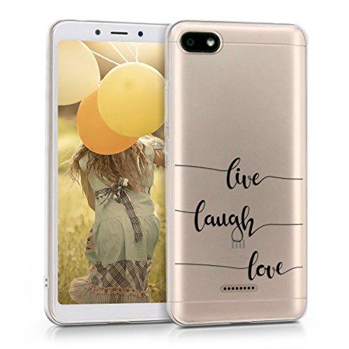 kwmobile Funda Compatible con Xiaomi Redmi 6A - Carcasa de TPU y Live, Laugh, Love en Negro/Transparente