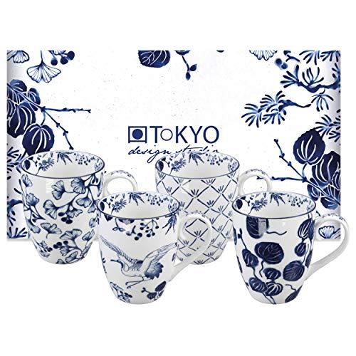 TOKYO design studio Flora Japonica 4er Tassen-Set blau-weiß, Ø 8,5 cm, 10,2 cm hoch, 380 ml, asiatisches Porzellan, Japanisches Blumen-Design, inkl. Geschenk-Verpackung