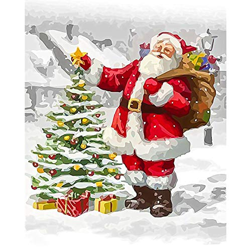 ROLEES Paint by Numbers for Adults Kids Christmas Tree Santa Sleigh Paint Paint by Numbers DIY Painting Acrylic Paint by Numbers Painting Kit Home Wall Living Room Bedroom Christmas Decor Decoration