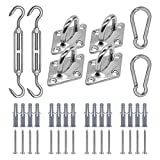 TMFsode Sun Shade Sails Hardware Kit for Square/Rectangle/Triangle Shade Sail, 5 Inch Stainless Steel Anti-Rust Installation Hardware Kit for Outdoor Patio Garden Sun Shade Sail (40Pcs)