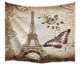 A.Monamour Tapices Marrón Moteado Fondos Vintage Floral Mariposa Paris Torre Eiffel Tarjeta Postal Con Impresión De Estampado Tapicería De Tela Decoración Colgante De Pared Para Decoraciones 102x153cm