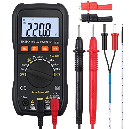 Neoteck 4000 Counts True RMS Auto-Ranging Digital Multimeter, Full-featured, Handheld, Data Hold, Blue Backlight LCD, Over Load Protection