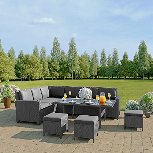 Abreo 9 Seater Corner Rattan Dining Set Garden Sofa Furniture Black Brown Grey (Solid Grey with Dark Cushions) INCLUDES OUTDOOR WATERPROOF COVER