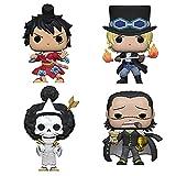 Funko Pop! Anime One Piece Set of 4: Sabo, Crocodile, Brook and Luffy Gear