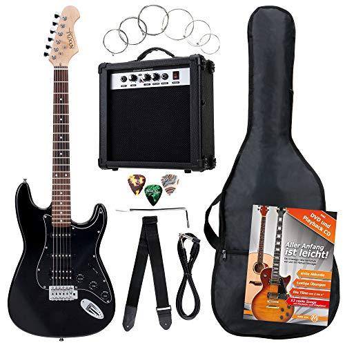 Rocktile ST Pack guitarra eléctr Set negro incl. ampl, bolsa,afinador, cable, correa,...