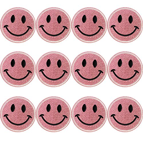 12pcs Pink Glitter Smiley Face Iron On Patches Sew On/Iron On Patch Applique Clothes Dress Plant Hat Jeans Jacket Bag Sewing Applique DIY Accessory (Pink)