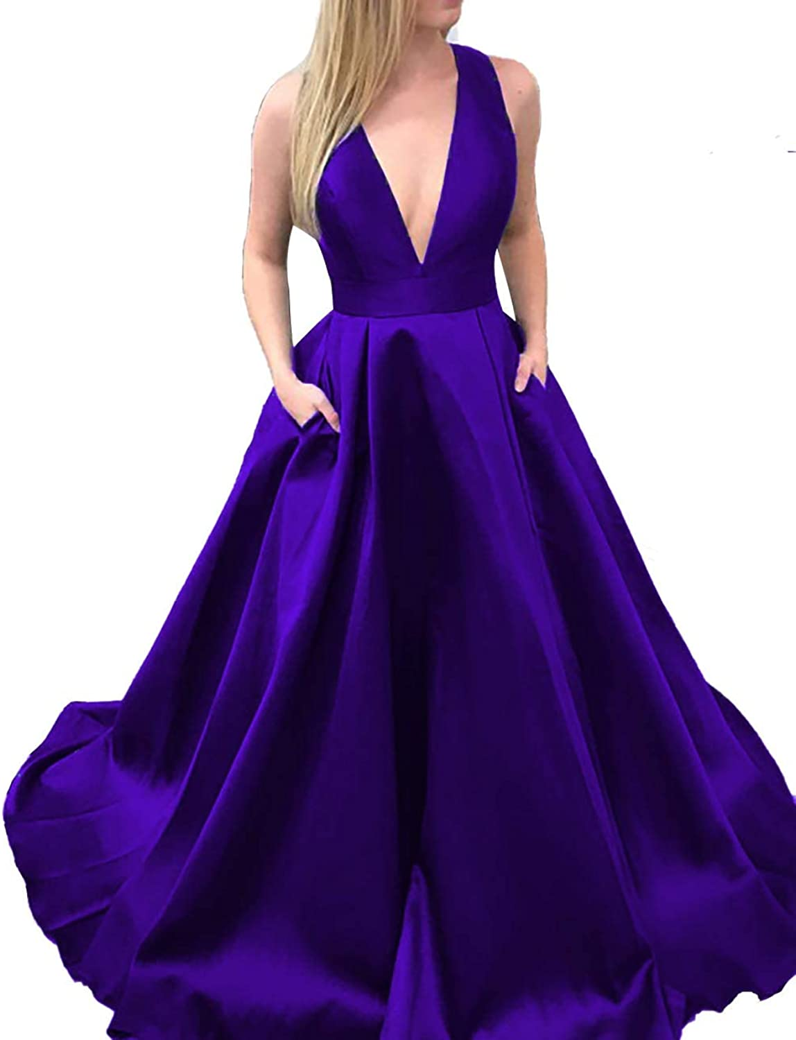 Scarisee Womens Formal V Evening Prom Dress Pockets Wedding Party Gowns BowSA135