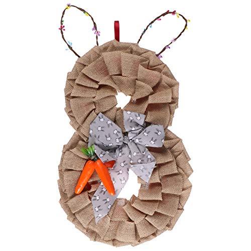 Toddmomy Puerta de Pascua Decoraciones Conejo Conejito Arpillera Guirnalda Colgante Ornamento Primavera Exterior Interior Bienvenida Señal Artesanía Suministros