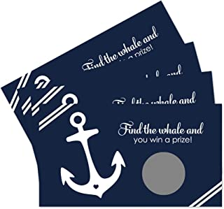 Nautical Scratch Off Party Game Cards Navy and White 28 Pack