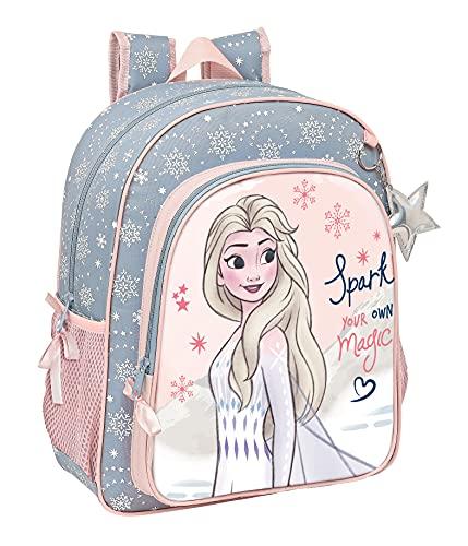 Safta Mochila Escolar Junior de Frozen II Magical Seasons, 320x120x380 mm, Gris Azulado/Rosa Claro