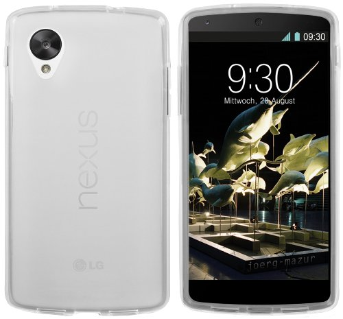 mumbi Hülle kompatibel mit LG Nexus 5 Handy Hülle Handyhülle, transparent weiss, Z-Google-Nexus-5-TPU-tr-ws, google nexus 5