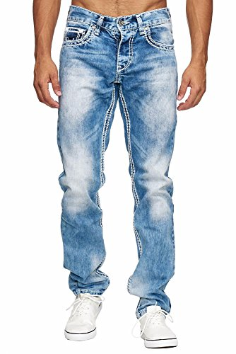 Amica MEGASTYL Herren Männer Jeans Basic Streetwear Dicke Nähte Regular Fit, Größe:W38 / L32, Farbe:Light Blue