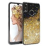 EAZY CASE Hülle kompatibel mit Huawei Y6s (2019) / Honor 8A Schutzhülle mit Flüssig-Glitzer, Handyhülle, Schutzhülle, Back Cover mit Glitter Flüssigkeit, Silikon, Transparent/Durchsichtig, Gold