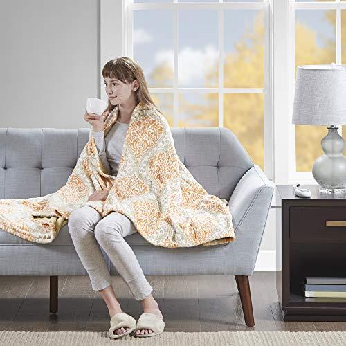 Beautyrest Senna Electric Blanket Plush Throws-Secure Comfort Technology-Oversized 60 x 70-Damask Pattern-Cozy Soft Microlight Blankets-3-Setting Heat Controller, 60 x 70, Orange