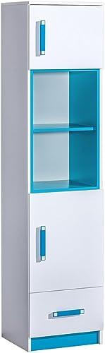 Mirjan24  Regal Trafiko TR04 mit Schubladen und 2 Türen, Dekoregal, Standregal für Jugendzimmer, Farbauswahl, Kinderzimmer, (Weiß Weiß + Türkis)