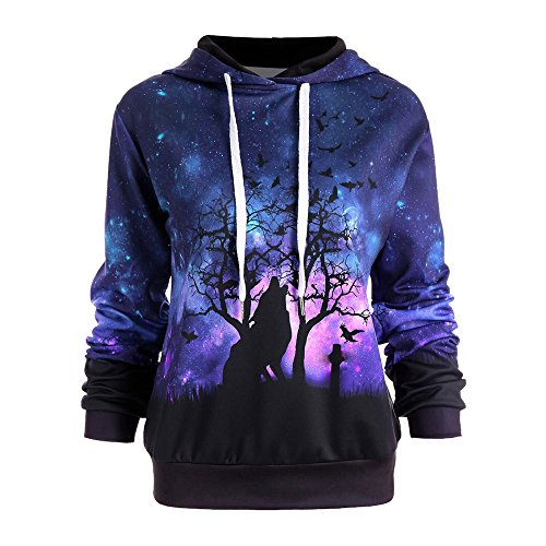 Women 3D Pullover T Shirt,Womens Galaxy Wolf Digital Printing Hoodie Sweatshirt Casual Baseball Coats (X-Large, Purple)