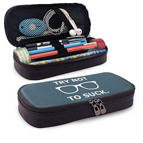 Versuchen Sie nicht, Leder Pencil Case Reißverschlüsse Pen Bag für Gilrs Jungen und Erwachsene zu saugen