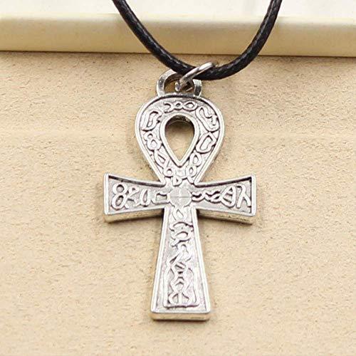 xtszlfj Durable Cuero de imitación Negro Egipcio Ankh símbolo de la Vida Colgante cordón Gargantilla Encanto DIY Collar Retro joyería