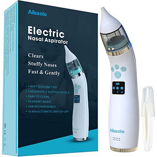 Elektrischer Nasensauger für Babys USB Wiederaufladbarer- Nasenreiniger mit 4 Silikonspitzen und 3 Einstellbaren Saugst?rken für Neugeborene und Kleinkinder - Wunderbare Musik (Weiß)