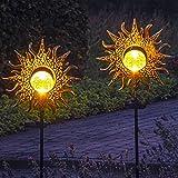 Gadgy Solarleuchten für Außen Garten Deko | Set 2 Gartenstecker Solar Sonne | Gartendeko Vintage | Orientalische Deko | Solarleuchten Garten | Fackeln für Draußen | Gartendekoration | Gartendeko Solar