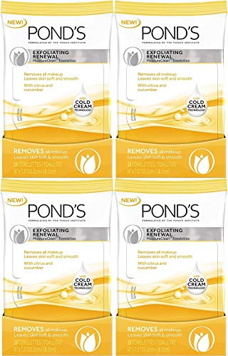 POND'S Exfoliating Renewal MoistureClean Towelettes, 28 Count (4 Pack)