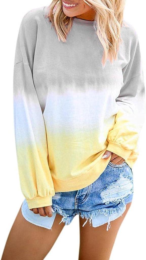 Masbird Fall Clothes for Women, Women's Crewneck Long Sleeve Gradient Striped Fall Sweatshirt Casual Cute Tunic Tops