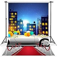 HDVIPレッドカーペットの背景ソフトファブリックスーパーカーシティナイト写真の背景グランドパーティーフォトスタジオ小道具コットン7x10ftLYFS960