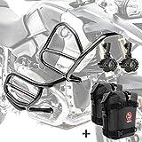 Set Defensas + Faro Adicional XL4 para BMW R 1200 GS 08-12 Negro + K3