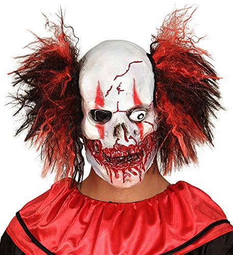 Killer Clown Mask with Hair-Bloody Skulls