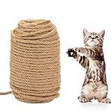 KATELUO Corde en sisal Naturelle,50M Jouets en Sisal,griffoir Chats,6 mm d'épaisseur,Protéger Les Chats, broyer Les Jouets à Griffes Ramper Les matériaux