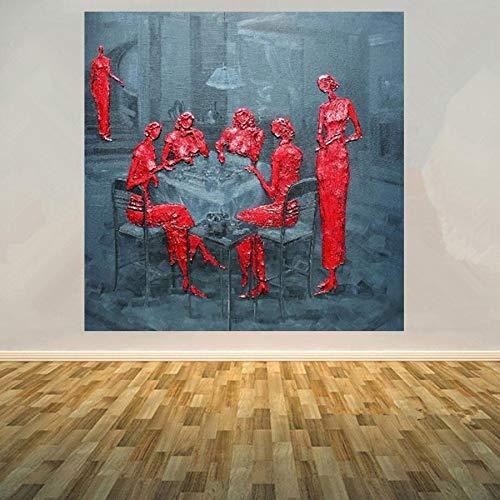 YSYHB Handgemalte Ölgemälde Leinwand Chinesische Zeitgenössische Kunst Yunancheng Abstrakte Mahjong Figur Malerei Moderne Wandbild Weiß 90x90 cm