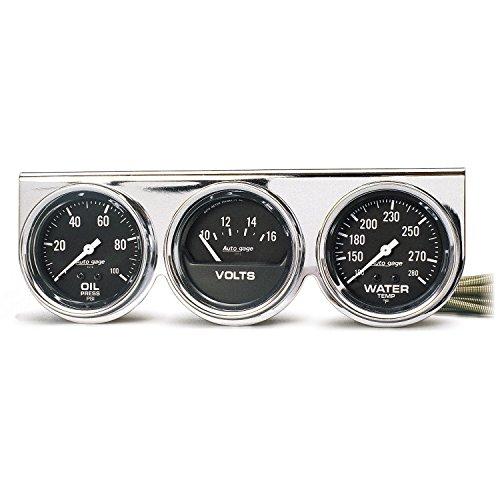 AUTO METER 2399 Autogage Black Oil/Water/Volt...