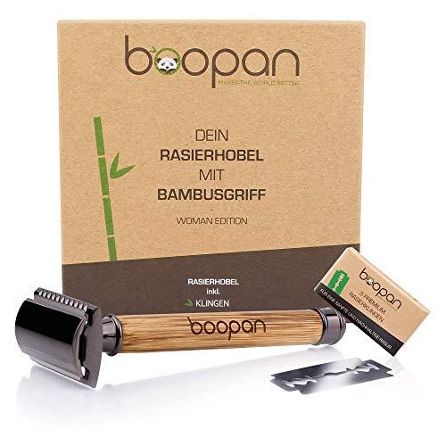 boopan® Premium RASIERHOBEL DAMEN mit Griff aus Bambus nachhaltig inkl. 5 Rasierklingen - ZERO WASTE Rasierer Set für eine sichere und sanfte Rasur - geschlossener Kamm inkl. eBook (Metalgun-Chrom)